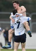 22 February 2018; Captain Lee Gannon of Dublin North celebrates with team-mate Conor Scully after the Top Oil Corn Ui Dhuill Leinster Post Primary Schools A SHC Final match between St Kieran's and Dublin North at Netwatch Cullen Park in Carlow. Photo by Matt Browne/Sportsfile