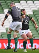 23 February 2018; Andrew Porter, right, and Devin Toner during the Ireland Rugby captain's run at the Aviva Stadium in Dublin. Photo by Brendan Moran/Sportsfile