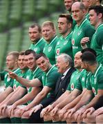 23 February 2018; Jonathan Sexton, centre, during the Ireland Rugby captain's run at the Aviva Stadium in Dublin. Photo by Brendan Moran/Sportsfile