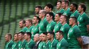 23 February 2018; The Ireland squad, back row, from left, Fergus McFadden, Sean Cronin, Joey Carbery, Jacob Stockdale, Chris Farrell Bundee Aki, and Kieran Marmion with, centre row, from left, Jack McGrath, John Ryan, Jack Conan, Devin Toner, James Ryan, Quinn Roux, Dan Leavy and Andrew Porter and, front row, from left, Keith Earls, CJ Stander, Peter O'Mahony, Jonathan Sexton, IRFU president Phil Orr, captain Rory Best, Conor Murray, Rob Kearney and Cian Healy as they sit for their team photo during the Ireland Rugby captain's run at the Aviva Stadium in Dublin. Photo by Brendan Moran/Sportsfile