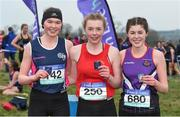 23 February 2018; Laura Hayes, centre, from Loreto, Fermoy, Co. Cork, after winning the senior girl's 2500m with second place Anna O'Connor, right, from Waterpark College, Waterford City, and third place Leah O'Neill, from Colaiste Muire, Ennis, Co. Clare, during the Irish Life Health Munster Schools Cross Country at Waterford IT in Waterford. Photo by Matt Browne/Sportsfile