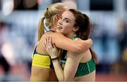 21 February 2018; Elizabeth Morland of Ireland, right, with Sarah Lavin of Ireland after the Women's 60m hurdles during AIT International Athletics Grand Prix at the AIT International Arena, in Athlone, Co. Westmeath. Photo by Brendan Moran/Sportsfile