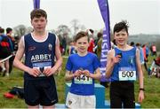 23 February 2018; Tommy Fennell, from St Augustine's College, Dungarvan, after winning the boys minor 2500m with third place Tadgh Connolly, left, from Abbey Community College, Waterford, and second place Cian Hodgins, right, from St Joseph's Nenagh, Co. Tipperary, at the Irish Life Health Munster Schools Cross Country at Waterford IT in Waterford. Photo by Matt Browne/Sportsfile