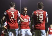 23 February 2018; Christopher Fagan, centre, of St Patrick's Athletic, centre, celebrates after scoring his side's second goal with Ian Bermingham and Dean Clarke during the SSE Airtricity League Premier Division match between Bray Wanderers and St Patrick's Athletic at the Carlisle Grounds in Wicklow. Photo by Harry Murphy/Sportsfile