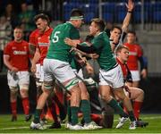 23 February 2018; Jonny Stewart of Ireland is congratulated by team mate Jack Dunne after scoring his side's fourth try during the U20 Six Nations Rugby Championship match between Ireland and Wales at Donnybrook Stadium in Dublin. Photo by David Fitzgerald/Sportsfile