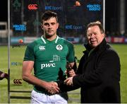 23 February 2018; Jack O'Sullivan of Ireland is presented with his Electric Ireland Player of the Match award by Niall Dineen after the U20 Six Nations Rugby Championship match between Ireland and Wales at Donnybrook Stadium in Dublin. Photo by David Fitzgerald/Sportsfile