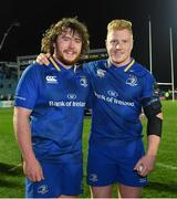 23 February 2018; Adam Coyle, left, and James Tracy of Leinster after the Guinness PRO14 Round 16 match between Leinster and Southern Kings at the RDS Arena in Dublin. Photo by Brendan Moran/Sportsfile