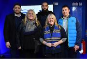 23 February 2018; Leinster players, from left, Ross Byrne, Scott Fardy and Sean O'Brien with supporters in the Blue Room at the Guinness PRO14 Round 16 match between Leinster and Southern Kings at the RDS Arena in Dublin. Photo by Brendan Moran/Sportsfile