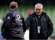 24 February 2018; Ireland head coach Joe Schmidt, left, shakes hands with Wales head coach Warren Gatland prior to the NatWest Six Nations Rugby Championship match between Ireland and Wales at the Aviva Stadium in Lansdowne Road, Dublin. Photo by David Fitzgerald/Sportsfile