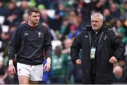 24 February 2018; Wales head coach Warren Gatland, right, and Dan Biggar prior to the NatWest Six Nations Rugby Championship match between Ireland and Wales at the Aviva Stadium in Lansdowne Road, Dublin. Photo by David Fitzgerald/Sportsfile