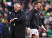 24 February 2018; Wales head coach Warren Gatland, left, and Dan Biggar prior to the NatWest Six Nations Rugby Championship match between Ireland and Wales at the Aviva Stadium in Lansdowne Road, Dublin. Photo by David Fitzgerald/Sportsfile