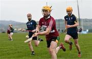 24 February 2018; Conor Johnston of St Mary's University College in action against Ronan Curr and Conor Criffin of GMIT Letterfrack during the Electric Ireland Fergal Maher Cup Final between St Mary's University College and GMIT Letterfrack in Mallow, Cork. The unique quality of the Electric Ireland Higher Education Championships sees players putting their intercounty and club rivalries aside to strive to achieve Electric Ireland Fergal Maher Cup glory. Electric Ireland has been shining a light on these First Class Rivals as proud sponsor of the college level competitions for the next four years. #FirstClassRivals. Photo by Diarmuid Greene/Sportsfile