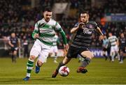 23 February 2018; Brandon Miele of Shamrock Rovers in action against Michael Duffy of Dundalk during the SSE Airtricity League Premier Division match between Shamrock Rovers and Dundalk at Tallaght Stadium in Dublin. Photo by Stephen McCarthy/Sportsfile