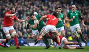 24 February 2018; James Ryan of Ireland is tackled by Ross Moriarty and Josh Navidi of Wales during the NatWest Six Nations Rugby Championship match between Ireland and Wales at the Aviva Stadium in Lansdowne Road, Dublin. Photo by Brendan Moran/Sportsfile