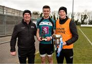 24 February 2018; Electric Ireland Man of the Match Brian Hogan from Maynooth University with his father and manager Ken Hogan and his coach and brother Cian Hogan celebrate with the cup after victory over Ulster University in the Electric Ireland HE GAA Ryan Cup Final in Mallow, Cork. The unique quality of the Electric Ireland Higher Education Championships sees players putting their intercounty and club rivalries aside to strive to achieve Electric Ireland Ryan Cup glory. Electric Ireland has been shining a light on these First Class Rivals as proud sponsor of the college level competitions for the next four years. #FirstClassRivals. Photo by Diarmuid Greene/Sportsfile