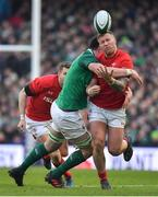 24 February 2018; Ross Moriarty of Wales is tackled by James Ryan of Ireland during the NatWest Six Nations Rugby Championship match between Ireland and Wales at the Aviva Stadium in Lansdowne Road, Dublin. Photo by Brendan Moran/Sportsfile