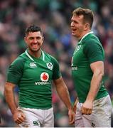 24 February 2018; Rob Kearney, left, and Chris Farrell of Ireland celebrate a try by Jacob Stockdale during the NatWest Six Nations Rugby Championship match between Ireland and Wales at the Aviva Stadium in Dublin. Photo by Ramsey Cardy/Sportsfile