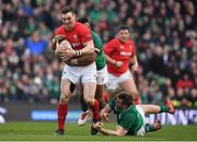 24 February 2018; George North of Wales is tackled by Bundee Aki, left, and Chris Farrell of Ireland during the NatWest Six Nations Rugby Championship match between Ireland and Wales at the Aviva Stadium in Lansdowne Road, Dublin. Photo by Brendan Moran/Sportsfile