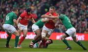 24 February 2018; Bradley Davies of Wales is tackled by Ireland players, from left, Bundee Aki, Joey Carbery and Fergus McFadden during the NatWest Six Nations Rugby Championship match between Ireland and Wales at the Aviva Stadium in Lansdowne Road, Dublin. Photo by Brendan Moran/Sportsfile