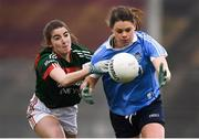 24 February 2018; Noelle Healy of Dublin in action against Saoirse Ludden of Mayo during the Lidl Ladies Football National League Division 1 Round 4 match between Mayo and Dublin at Elverys MacHale Park in Castlebar, Co Mayo. Photo by Stephen McCarthy/Sportsfile