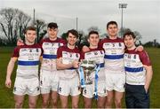 24 February 2018; UL players, all from Co. Clare, Tony Kelly, David Fitzgerald, Aidan McGuane, Ian Galvin, Conor Cleary, and Colin Crehan celebrate with the cup after the Electric Ireland HE GAA Fitzgibbon Cup Final match between DCU Dochas Eireann and University of Limerick at Mallow GAA Grounds in Mallow, Co Cork. Photo by Diarmuid Greene/Sportsfile