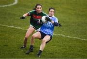 24 February 2018; Sinead Aherne of Dublin in action against Doireann Hughes of Mayo during the Lidl Ladies Football National League Division 1 Round 4 match between Mayo and Dublin at Elverys MacHale Park in Castlebar, Co Mayo. Photo by Stephen McCarthy/Sportsfile