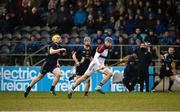 24 February 2018; David Fitzgerald of UL in action against Daire Grey, left, and Rian McBride of DCU Dochas Eireann during the Electric Ireland HE GAA Fitzgibbon Cup Final match between DCU Dochas Eireann and University of Limerick at Mallow GAA Grounds in Mallow, Co Cork. Photo by Diarmuid Greene/Sportsfile