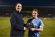 24 February 2018; Sinead Aherne of Dublin receives the Player of the Match award from Lidl's Dalia Kozlova following the Lidl Ladies Football National League Division 1 Round 4 match between Mayo and Dublin at Elverys MacHale Park in Castlebar, Co Mayo. Photo by Stephen McCarthy/Sportsfile