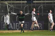 24 February 2018; Luke Connolly of Nemo Rangers celebrates after scoring his side's second goal of the game during the AIB GAA Football All-Ireland Senior Club Championship Semi-Final match between Nemo Rangers and Slaughtneil at O'Moore Park in Portlaoise, Co Laois. Photo by Eóin Noonan/Sportsfile