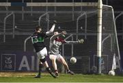 24 February 2018; Luke Connolly of Nemo Rangers scores his side's second goal of the game during the AIB GAA Football All-Ireland Senior Club Championship Semi-Final match between Nemo Rangers and Slaughtneil at O'Moore Park in Portlaoise, Co Laois. Photo by Eóin Noonan/Sportsfile