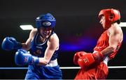 24 February 2018; Michaela Walsh, left, in action against Dervla Duffy during the Liffey Crane Hire IABA Elite Boxing Championships 2018 Finals at the National Stadium in Dublin. Photo by David Fitzgerald/Sportsfile