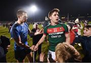 24 February 2018; Lee Keegan of Mayo and Dean Rock of Dublin following the Allianz Football League Division 1 Round 4 match between Mayo and Dublin at Elverys MacHale Park in Castlebar, Co Mayo. Photo by Stephen McCarthy/Sportsfile