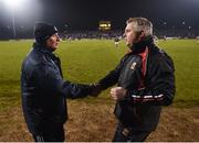 24 February 2018; Dublin manager Jim Gavin, left, and Mayo manager Stephen Rochford following the Allianz Football League Division 1 Round 4 match between Mayo and Dublin at Elverys MacHale Park in Castlebar, Co Mayo. Photo by Stephen McCarthy/Sportsfile