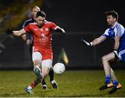 24 February 2018; Colm Cavanagh of Tyrone shoots on goal despite the attempted block of Conor Boyle of Monaghan during the Allianz Football League Division 1 Round 4 match between Monaghan and Tyrone at St Mary's Park in Castleblayney, Monaghan. Photo by Oliver McVeigh/Sportsfile