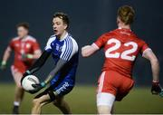 24 February 2018; Jack McCarron of Monaghan in action against Hugh Pat McGeary of Tyrone during the Allianz Football League Division 1 Round 4 match between Monaghan and Tyrone at St Mary's Park in Castleblayney, Monaghan. Photo by Oliver McVeigh/Sportsfile