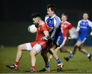24 February 2018; Padraig Hampsey of Tyrone in action against Jack McCarron of Monaghan during the Allianz Football League Division 1 Round 4 match between Monaghan and Tyrone at St Mary's Park in Castleblayney, Monaghan. Photo by Oliver McVeigh/Sportsfile