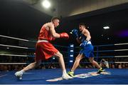 24 February 2018; Kieran Molloy, left, in action against Eugene McKeever during the Liffey Crane Hire IABA Elite Boxing Championships 2018 Finals at the National Stadium in Dublin. Photo by David Fitzgerald/Sportsfile