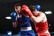 24 February 2018; Eugene McKeever, left, in action against Kieran Molloy during the Liffey Crane Hire IABA Elite Boxing Championships 2018 Finals at the National Stadium in Dublin. Photo by David Fitzgerald/Sportsfile