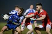 24 February 2018; Jack McCarron of Monaghan in action against Padraig Hampsey of Tyrone  during the Allianz Football League Division 1 Round 4 match between Monaghan and Tyrone at St Mary's Park in Castleblayney, Monaghan. Photo by Oliver McVeigh/Sportsfile