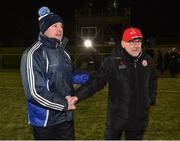 24 February 2018; Monaghan Manager Malachy O'Rourke and Tyrone Manager Mickey Harte exchange handshakes after the Allianz Football League Division 1 Round 4 match between Monaghan and Tyrone at St Mary's Park in Castleblayney, Monaghan. Photo by Oliver McVeigh/Sportsfile