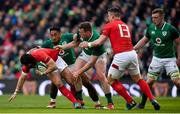 24 February 2018; Leigh Halfpenny of Wales is tackled by Bundee Aki and Chris Farrell during the NatWest Six Nations Rugby Championship match between Ireland and Wales at the Aviva Stadium in Lansdowne Road, Dublin. Photo by Brendan Moran/Sportsfile