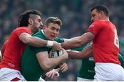 24 February 2018; Chris Farrell of Ireland is tackled by Josh Navidi, left, and Aaron Shingler of Wales during the NatWest Six Nations Rugby Championship match between Ireland and Wales at the Aviva Stadium in Dublin. Photo by Ramsey Cardy/Sportsfile