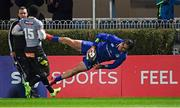 23 February 2018; James Lowe of Leinster scores his side's eighth try during the Guinness PRO14 Round 16 match between Leinster and Southern Kings at the RDS Arena in Dublin. Photo by Ramsey Cardy/Sportsfile