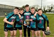 24 February 2018; Maynooth University players Cathal Moloney, Emmet Moloney, Paul Moloney, Adrian Doyle, and Stephen Stafford celebrate with the cup after victory over Ulster University in the Electric Ireland HE GAA Ryan Cup Final in Mallow, Cork. The unique quality of the Electric Ireland Higher Education Championships sees players putting their intercounty and club rivalries aside to strive to achieve Electric Ireland Ryan Cup glory. Electric Ireland has been shining a light on these First Class Rivals as proud sponsor of the college level competitions for the next four years. #FirstClassRivals. Photo by Diarmuid Greene/Sportsfile