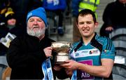 24 February 2018; Maynooth University captain Padraig Walsh is presented with the cup by Michael McMahon of Comhairle Ardoideachais after the Electric Ireland HE GAA Ryan Cup Final in Mallow, Cork. The unique quality of the Electric Ireland Higher Education Championships sees players putting their intercounty and club rivalries aside to strive to achieve Electric Ireland Ryan Cup glory. Electric Ireland has been shining a light on these First Class Rivals as proud sponsor of the college level competitions for the next four years. #FirstClassRivals. Photo by Diarmuid Greene/Sportsfile