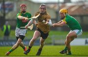 25 February 2018; Sean Weir of Kerry in action against Adam Gannon, left, and James Kelly of Meath during the Allianz Hurling League Division 2A Round 4 match between Kerry and Meath at Austin Stack Park in Kerry. Photo by Diarmuid Greene/Sportsfile