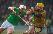 25 February 2018; Paddy Conneely of Meath in action against John Buckley of Kerry during the Allianz Hurling League Division 2A Round 4 match between Kerry and Meath at Austin Stack Park in Kerry. Photo by Diarmuid Greene/Sportsfile