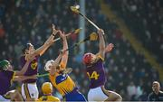 25 February 2018; Lee Chin, 14, Jack O'Connor and Conor McDonald of Wexford in action against Conor Cleary and Jason McCarthy of Clare during the Allianz Hurling League Division 1A Round 4 match between Wexford and Clare at Innovate Wexford Park in Wexford. Photo by Matt Browne/Sportsfile