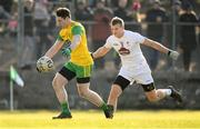 25 February 2018; Jamie Brennan of Donegal in action against Peter Kelly of Kildare during the Allianz Football League Division 1 Round 4 match between Donegal and Kildare at Fr Tierney Park in Ballyshannon, Co Donegal. Photo by Stephen McCarthy/Sportsfile