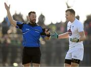25 February 2018; Peter Kelly of Kildare appeals to referee David Gough during the Allianz Football League Division 1 Round 4 match between Donegal and Kildare at Fr Tierney Park in Ballyshannon, Co Donegal. Photo by Stephen McCarthy/Sportsfile